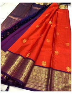 Wedding Saree Blouse Designs, Silk Saree Blouse Designs, Saree Blouse Patterns, Saree Wedding, Kanjivaram Sarees Silk, Pure Silk Sarees, South Indian Sarees, Frock Fashion, Indian Jewellery Design