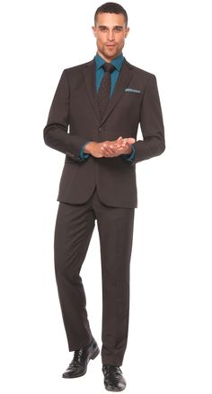 <p><span><strong>Dressing like a man will never be more refreshing while donning this 1 button brown masterpiece. Work or weekend, this Parc 81 'Parisian' slim fit suit by Bachrach is a go-to suit on the cutting edge of fashion!</strong></span></p> $498.00