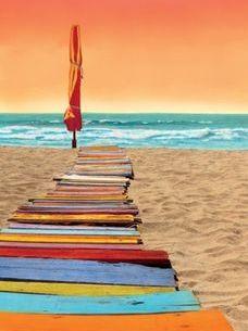 Colorful Orange Beachwalk