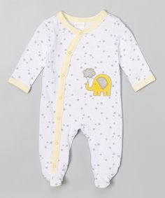 Another great find on #zulily! White & Yellow Elephant Footie - Infant #zulilyfinds