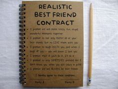 ReALiStiC Best Friend Contract   5 x 7 journal von JournalingJane