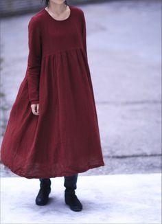 Women red linen long dress,gown Spring Autumn Winter clothing  http://www.aliexpress.com/store/product/SIMPLE-LIVING-women-Maxi-loose-fitting-Linen-Cotton-long-dress-original-design-elegance-graceful-very-comfortable/1247503_1886892312.html