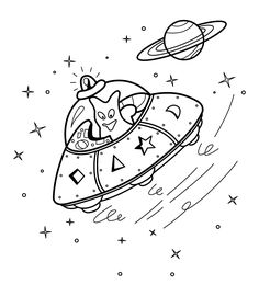 UFO Spacecraft Coloring Pages With Alien For Kids Printable Free