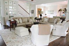 same living room, different view // windowpane plaid chairs // art work block