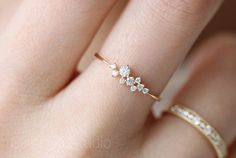 14 k gold schlanke zarte Taktik Inlay Zirkon Ring — — kleinen Blumenstrauß | Goldring | winzigen Ring | winzige Diamantring | Stimmungsring