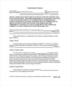 Construction Contract Example