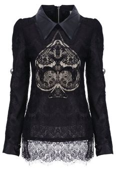 Shop Sequined Spade-shaped Lace Blouse at ROMWE, discover more fashion styles online. Dark Fashion, Gothic Fashion, Dandy, Plus Zise, Black Lace Blouse, Grunge, Latest Street Fashion, Mode Inspiration, Alternative Fashion