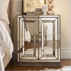 Hooker Furniture Sanctuary Two-Door Mirrored Nightstand in Visage -  Sanctuary bedroom features top-of-the-line, full-extension drawers with a smoothly-operating metal glide system. Self-closing drawers close with the touch of a finger.