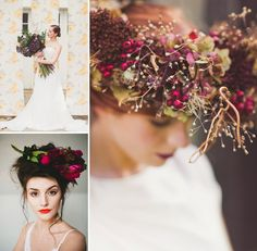 Plum Wedding Inspiration Featuring A Deep Purple Vera Wang Gown And Purple Bridesmaids Dresses From Nancy Mac, TwoBirds UK and Maids To Measure via @rockmywedding