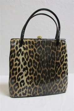 1950's Leopard Animal Print Patent Vinyl Purse By Kadin - Made In The USA by MTvintageclothing on Etsy