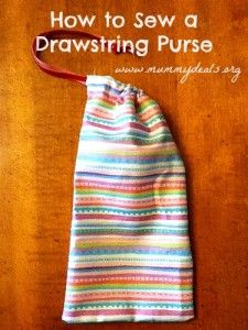 Drawstring purse made from fabric scraps would be a cheap and useful addition to a #shoebox!  #mummydeals.org #occ
