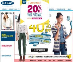 Pinned October 20th: 20% off #online at Old Navy via promo code ONSAVENOW #coupon via The Coupons App