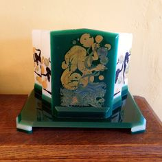 Stunning Art Deco 1930/'s English Gilt /& enamel CUT GLASS TRINKET POT Rings etc