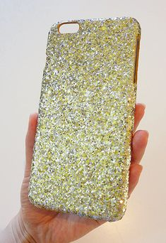 New For Apple iPhone 6s 6 Plus 5.5 Gold & Silver Specks sequin cluster sparkly smartphone cellphone phone slim case cover handmade by Yunikuna