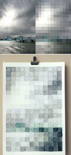 Hand paint watercolor pixel art. Alternately, you could cut squares from paint swatch colors from the hardware store | 39 Easy DIY Ways To Create Art For Your Walls
