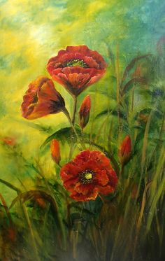 """Open Art Exhibition - 4th Place – Overall Category – Donna McGee – """"Poppies"""" - Donna is an Irish artist and the Irish landscape is a constant source of inspiration in her work. Donna says this about here art, """"my aim is to try and capture the essence of this timeless beauty, both in traditional and abstract form. I work mainly in oils because I love its vibrancy and creamy texture. The play of light with shadows contrasted against dramatic skies, and rugged coastlines...http://donnamcgee.ie"""