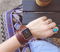 Apple Watch Double Wrap Band Strap (Whiskey Brown) | Full Grain Vegetable Tanned Leather | Made in Texas