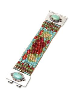 Turquoise Hot Chili Rose Bracelet - Adonnah - Guest Designers | Peyote Bird Designs - THIS IS FINE!!!