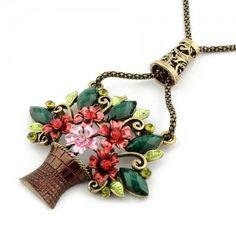 Vintage colored flower basket necklace