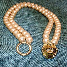 Vintage KJL for AVON Faux Pearl Double Strand Choker w Lion's Head Clasp, 1980s #kjlforavon, $25 free US shipping