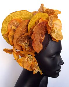 Orange Fungus  & Orchid Headdress Headpiece