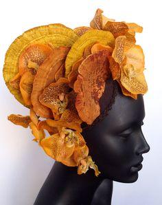 Orange Fungus & Orchid Headdress Headpiece
