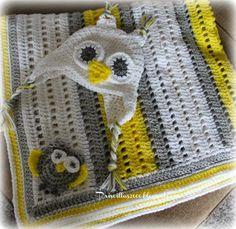 Priscillas: Grey and Yellow Baby Girl Owl Set