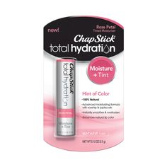 New ChapStick Total Hydration Moisture + Tint is a natural, nourishing formula that enhances your natural lip color with a hint of alluring tint. Tinted Lip Balm, Tinted Moisturizer, Home Remedies For Skin, Natural Lip Colors, Lip Care, Jojoba Oil, Rose Petals, Bath And Body Works, The Balm