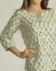 Fabindia.com | Cotton Printed Drawstring Top Indian Designers, Indian Designer Wear, Peasant Tops, Tunic Tops, New Kurti, Women Tunic, Kurti Patterns, Indian Look, Flower Embroidery