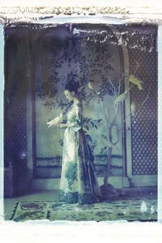 """The bird tower, III,"" Valentino haute couture 1968, color print from original Polaroid. [Photo by Cathleen Naundorf]"