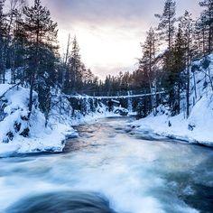 Myllykoski #Finland #Kuusamo #NationalPark #Myllykoski #nature #bridge #water #cottage #longexposure  #Canon #travel Long Exposure, Finland, Winter Wonderland, Canon, Bridge, Cottage, River, Mountains, Nature