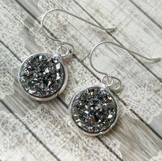 Grey druzy earrings, sterling silver druzy earrings, bridesmaids gift, silver…