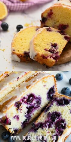 This loaf cake is made lighter by using greek yogurt, and is loaded up with lemon flavor. Juicy blueberries are baked right in. All drizzled with a luscious lemon glaze. Lemon Blueberry Pound Cake, Blueberry Bread, Blueberry Recipes No Butter, Blueberry Breakfast Cakes, Lemon Yogurt Cake, Lemon Loaf Cake, Lemon Layer Cakes, Fun Baking Recipes, Dessert Recipes