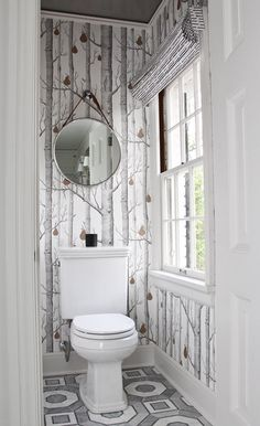 Water Closet Wallpaper - Design photos, ideas and inspiration. Amazing gallery of interior design and decorating ideas of Water Closet Wallpaper in bathrooms by elite interior designers. Cloakroom Wallpaper, Wallpaper Toilet, Wood Wallpaper, Bathroom Wallpaper Forest, Toilet Closet, Toilet Room, Downstairs Cloakroom, Downstairs Toilet, Grey Pattern Wallpaper