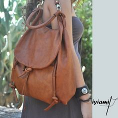 Handmade leather backpack named Daphne in Brandy by iyiamihandbags - StyleSays
