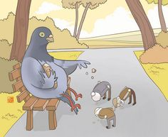 These satirical animal rights illustrations depict a role reversal, showing us the sad reality of what we often times put them through. Warning, illustrations are slightly shocking. Pigeon Feed, Some Pictures, Funny Pictures, Chat Halloween, Sketch Manga, Funny Birds, Humor Grafico, Illustrations, The Thorn Birds