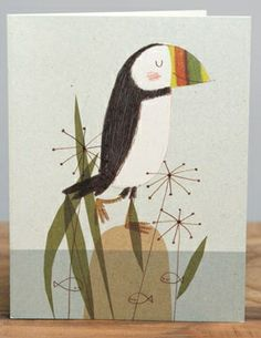 Puffin | Red Cap Cards | Illustrated greeting card by Kate Hindley