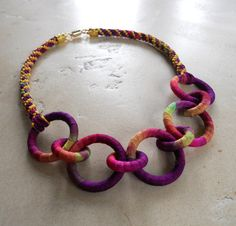 Fiber Chain Necklace Salvia by fiber2love on Etsy, $48.00