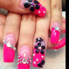 Hate the pink but love the style.    Acrylic nails by Celeste Young!
