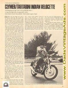 1969 Clymer / Tartarini Indian Velocette Motorcycle Road Impression 3-Pg Article #e69fa20 Vintage Indian Motorcycles, 3, Indiana, Impressionism