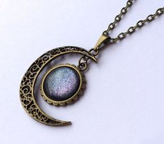 Galaxy Necklace Crescent Moon Necklace Moon by AChicFairytale