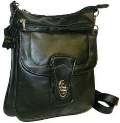 Black LEATHER Cross body Messenger Bag Purse NEW  #ShoulderBag