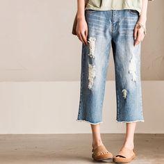 Vintage women Cowboys trousers Causel jeans