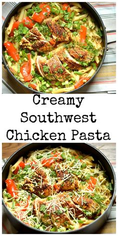 Cajun spiced crusted chicken in a light creamy pasta with your favorite veggies!