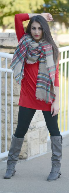 Posh Plaid Scarf with Red Casual Top, Leggings and Boots. The cutest outfit for fall/winter. Stay comfortable and in style this season. Free shipping on orders $50 and over!