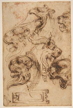 Six Studies of Animal Heads and of a Cartouche -   Pellegrino Tibaldi