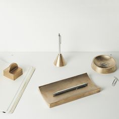 Brass Paper Weight, Pen Tray, Pencil Holder & Clip Holder by Saikai Toki | THE FUTURE PERFECT