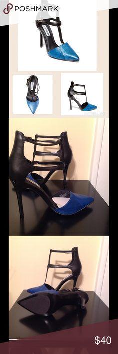 "NEW Steve Madden ""Pardon"" blue Steve Madden Pardon blue snake print leather with T-strap.  3.75 inch heels.  New without box Steve Madden Shoes Heels"