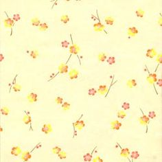 Chiyogami - Scattered Plum Blossoms, Citrus on Ivory