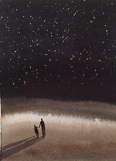 Nicola Magrin. Acque e Ombre, 2015, acquarello cm 19 x 14 #1. watercolor aquarelle night illustration
